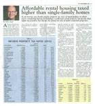 Real Estate Magazine - Ontario Canada's Affordable Rental Housing Taxed Higher than Single-family Homes
